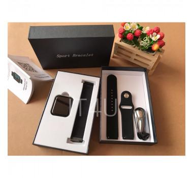 Kit Relógio Smartwatch Preto + 2 Pulseiras + Fone Bluetooth