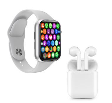 Kit 1 Relógio Inteligente SmartWatch IWO 8 Lite Plus Branco Troca Pulseira + 1 Fone i9 TWS Branco