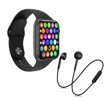 Kit 1 Relógio Inteligente SmartWatch W34 S Preto Troca Pulseira + 1 Fone Bluetooth S6 Preto