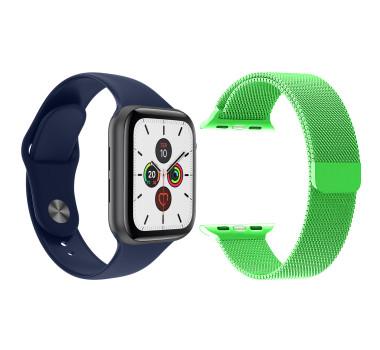 Kit 1 Relógio Inteligente SmartWatch T500 IWO MAX Azul Android iOS + 1 Pulseira Milanese Verde Claro