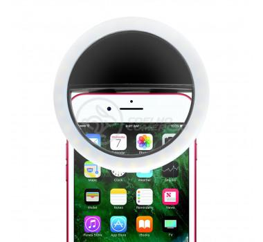 Anel De Led Luz Para Selfie Clipe Mini Ring Light Flash Recarregável Celular Android e iOS - Preto