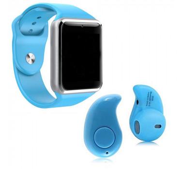 Kit 1 Relógio SmartWatch A1 Azul + 1 Mini Fone Bluetooh Azul