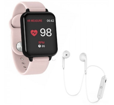 Kit 1 Relógio Smartwatch B57 Hero Band 3 Rosa + 1 Fone Bluetooh Original Branco