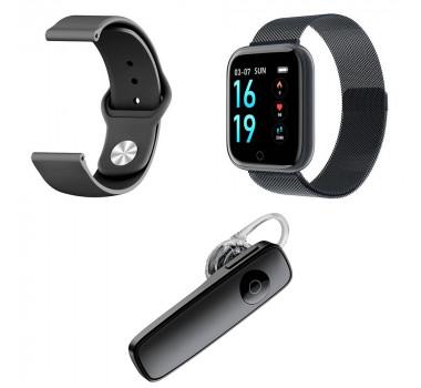 Kit 1 Relógio Smartwatch P70 Preto Android iOS + 1 Pulseira Extra + 1 Fone Sem Fio Bt Headset Preto
