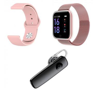 Kit 1 Relógio Smartwatch P70 Rosa Android iOS + 1 Pulseira Extra + 1 Fone Sem Fio Bt Headset Preto