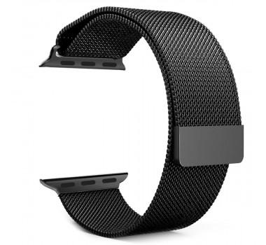 Pulseira Milanese de Aço de Ferro Para Apple Watch Iwo 8, Iwo 9 e Iwo 10 38mm 40mm Em Aço Inoxidável - Preto