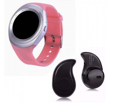 Kit 1 Relógio SmartWatch Y1 Rosa + 1 Mini Fone Bluetooh Preto