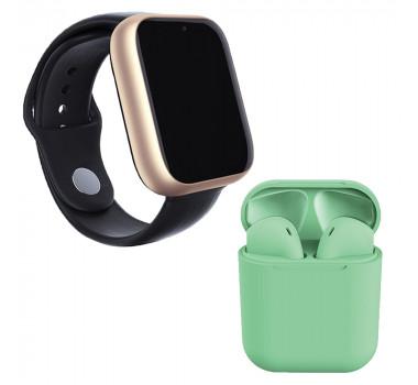 Kit 1 Relógio SmartWatch A1 Pro Plus Dourado + 1 Fone Bluetooth inPods 12 Verde