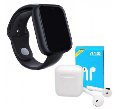 Kit 1 Relógio SmartWatch Z6 Preto + 1 Fone Bluetooth i11 Pro TWS