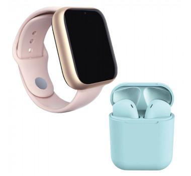 Kit 1 Relógio SmartWatch A1 Pro Plus Rosa + 1 Fone Bluetooth inPods 12 Azul
